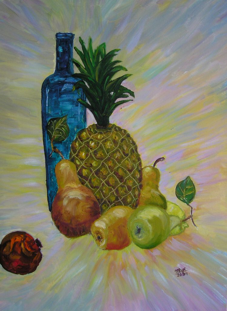 "Still Life with Pineapple. Oil on Canvas. 16""x20"""